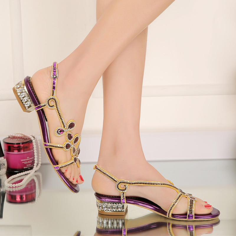 ФОТО Summer Open Toe Low Heel Gold Black Color Rhinestone Sandals 2016 Ladies  Shoes Crystal Flower Wedding Party Shoes