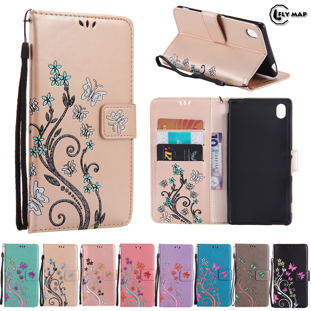 Butterfly Case for Sony Xperia M4 E2312 E2303 Floral Leather Flip Cover Wallet Phone Case for Sony Xperia M 4 E 2312 2303 Capa