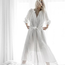[EWQ] New Spring Summer Fashion Loose White Solid Color Hollow Out Tassel Tie Lantern Sleeve Wo Piece Set Dress S089
