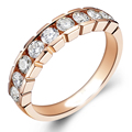 EDI 10k Rose Gold Nine Stone Ring 0.9CTTW DEF Moissanites Lab Grown Diamond Engagement Wedding Ring Classic Match Anniversary