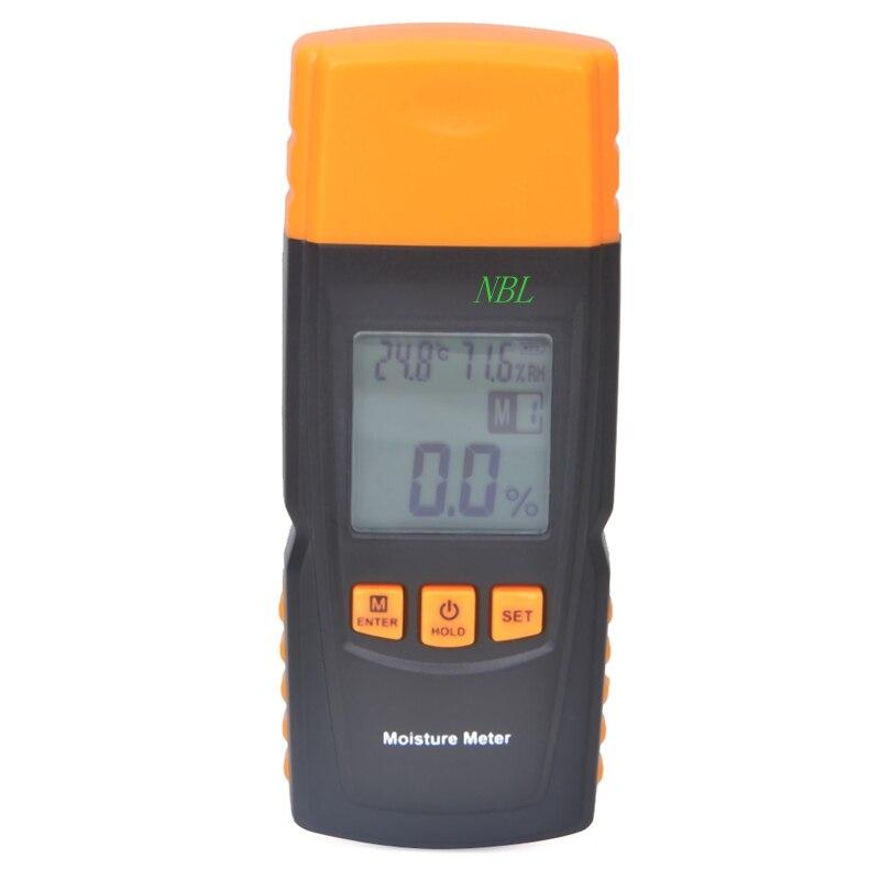 Les données de compteur d'humidité en bois tenu dans la main de contre-jour d'affichage à cristaux liquides tiennent pour la mesure dans 4 espèces d'arbre humidité: 20% RH ~ 95% RH avec le testeur de température
