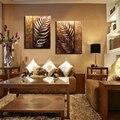Handmade 2 peça moderna dourada folha contemporânea pintura a óleo abstrata na arte da parede da lona fotos para sala de estar casa LE-010