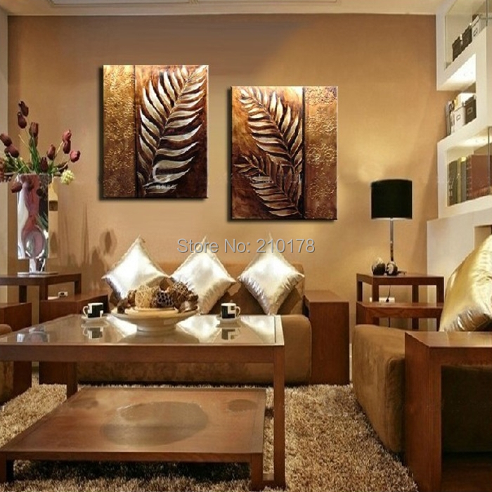 Buy handmade 2 piece golden modern - Contemporary wall art for living room ...