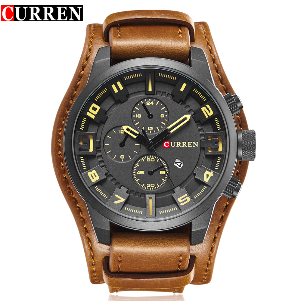 CURREN Top Brand Luxury Quartz Watches Men's Sports Quartz-Watch Leather Strap Military Male Clock Fashion New Gift Relogio new listing yazole men watch luxury brand watches quartz clock fashion leather belts watch cheap sports wristwatch relogio male