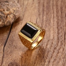 Mens Large Black Red Stone Signet Rings Gold Tone Stainless Steel Male Tribal Jewelry anel masculino