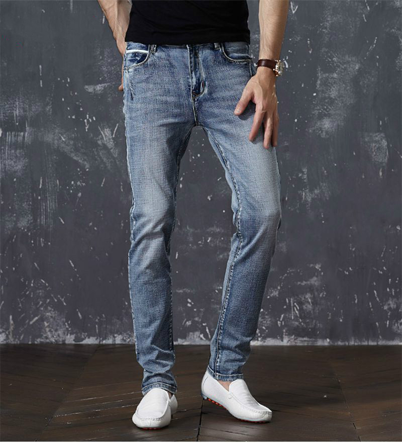 Lguc, h ретро большой Размеры Для Мужчин's Джинсы для женщин 2018 весной и летом тонкий серый прямо стрейч Для мужчин модные Повседневное Jogger Джин...
