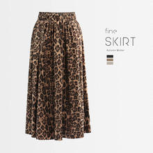 1pcs Elastic Hight waist Women Pleated knit skirts 2019 Autumn  pleuche Splicing Leopard Long skirt Ladies Skinny