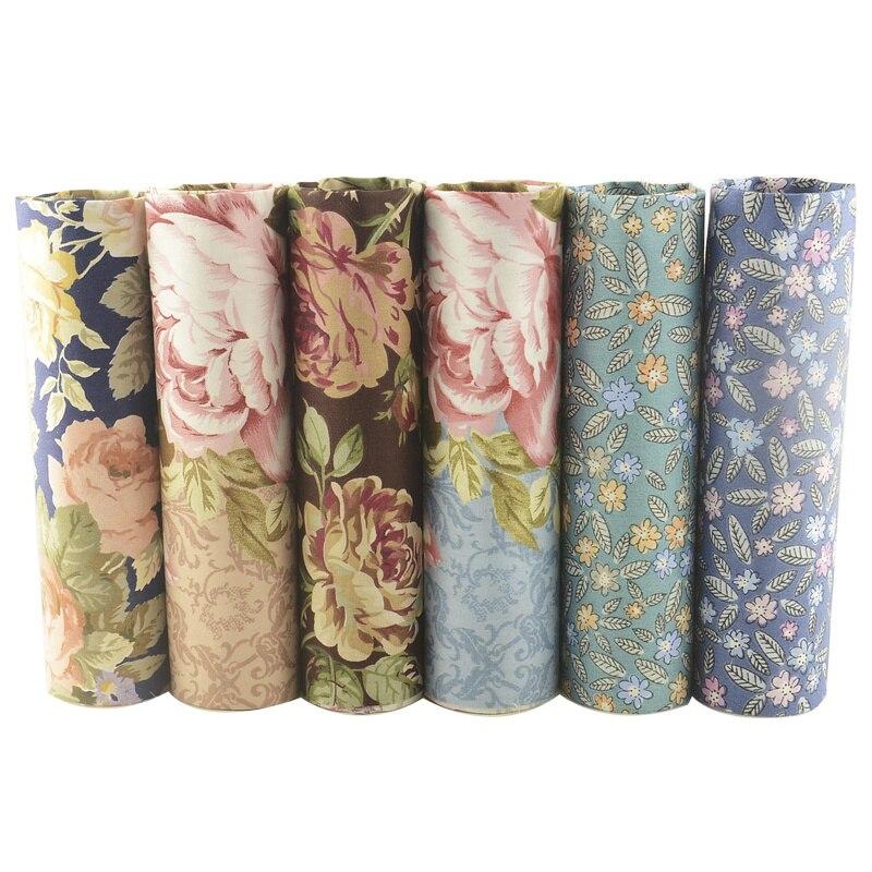 Teramila Printed Floral Fabric Meter 100% Cotton Twill DIY Sewing Material Patchwork Telas 6 PCS/40cmx50cm Tissus Scrapbooking craft