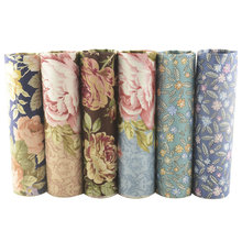 Teramila Printed Floral Fabric Meter 100% Cotton Twill DIY Sewing Material Patchwork Telas 6 PCS/40cmx50cm Tissus Scrapbooking(China)
