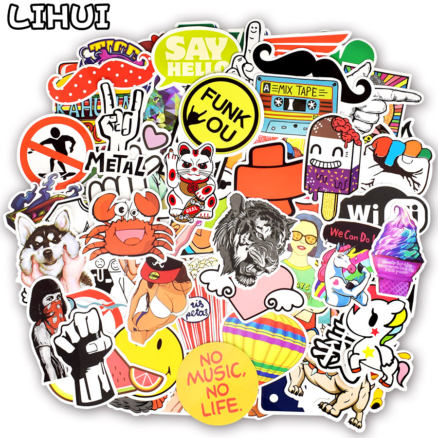 800pcs Random Stickers Cool Funny Cute Kawaii Creative Waterproof Sticker for DIY Sticker on Laptop Suitcase