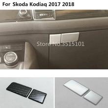 Кузова ABS Chrome/углеродного волокна пилот бардачок спереди отделка лампы панели frame hood 2 шт. для skoda kodiaq 2017 2018 2019