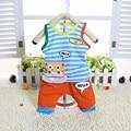 Мальчики Лето Хлопок Одежда наборы Усмешки Напечатаны Мило футболки + брюки детские пижамы комплект одежды Младенца