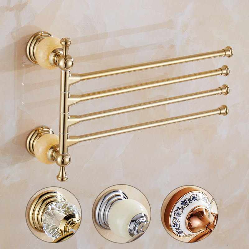 Bathroom Towel Rack Brass Material rotating hotel towel rack 2 4 bar movable Towel Bars wall