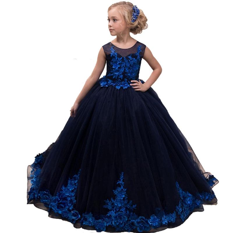Bleu petites filles Pageant Robe De bal longues enfants robes De bal Vestidos Para Nina Robe De soirée Fille dentelle Tulle fleur Fille robes
