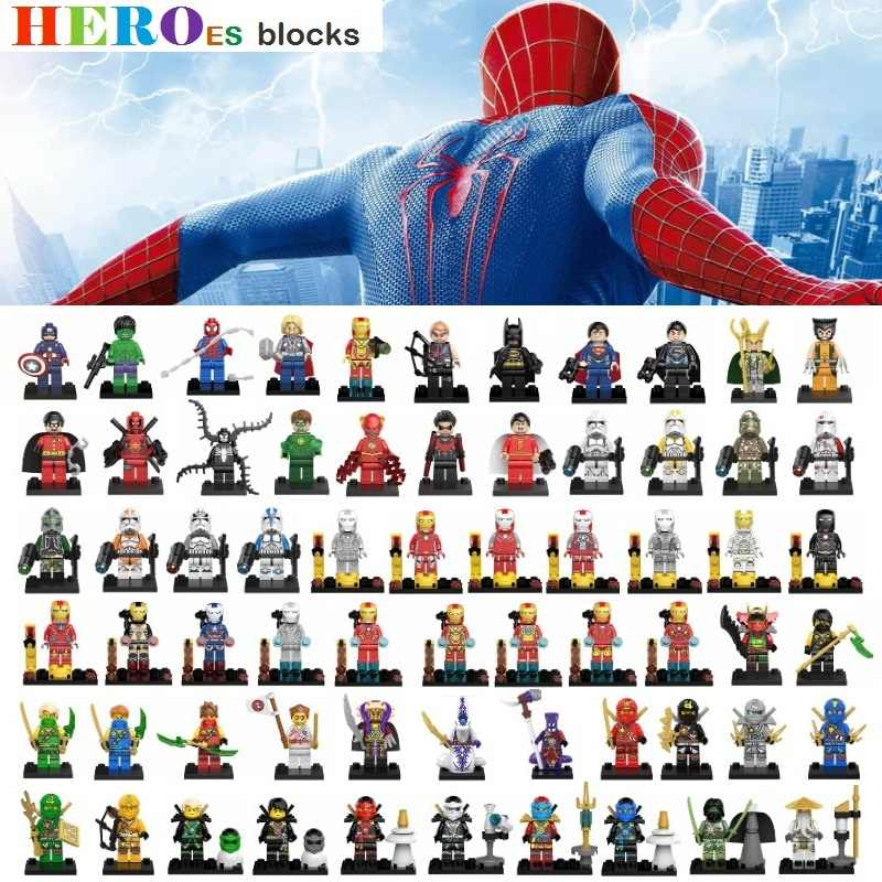 1 pieza Star Wars superhéroes bloques de construcción Batman Thor Superman Hulk Spider Iron Wonder Ninjaed Legoed figura de ladrillo juguete chico regalo