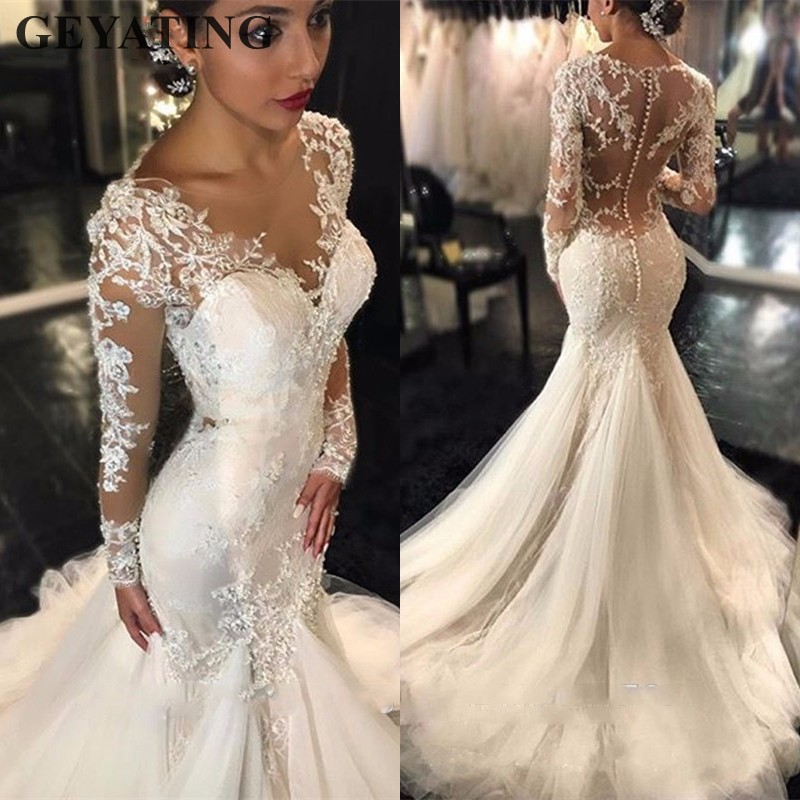 Elegant Vintage Lace Wedding Dress Long Sleeves Ruched Mermaid Bridal Gowns 2019 Saudi Arabia Appliques Sequin Wedding Dresses