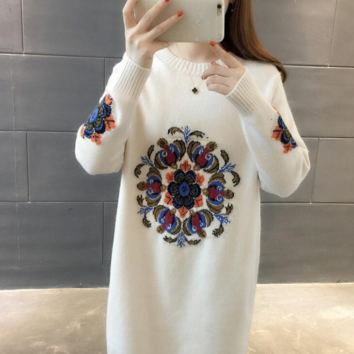 2019 New Spring Autumn Winter Women Knitted Pullovers Sweater Female Long Sleeve Embroidery Sweater Dress