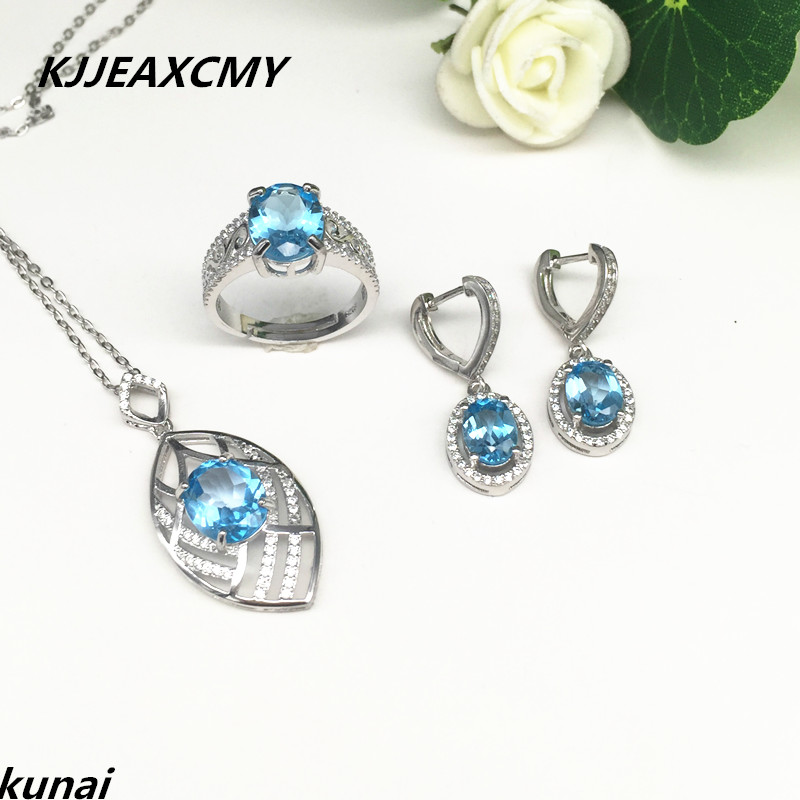 KJJEAXCMY Fine jewelry, Multicolored jewelry 925 silver inlay natural blue topaz set simple wholesale femaleKJJEAXCMY Fine jewelry, Multicolored jewelry 925 silver inlay natural blue topaz set simple wholesale female