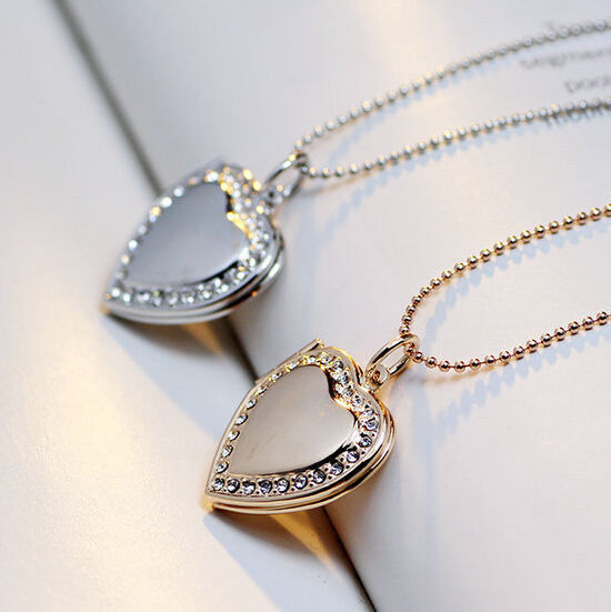 Classic Memory Photo Frame Rhinestone Crystal Heart Pendant Locket Necklace For Womens Jewellery Fashion Necklaces Jewelry locket