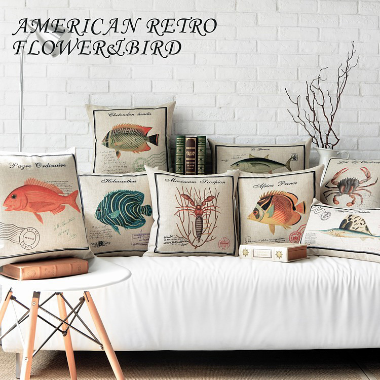 Creative American Country Pillow marine Fish Pillow Cushion linen Pillowcase,cushions Home Decorative Sofa Pillows Long Performance Life