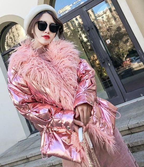 ladies winter coat Winter Jacket Women Long Down Parkas Female Warm Hooded Jacket Coat Silver Gray 2018 New cazadoras mujer