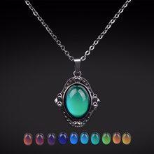 Ожерелье с эллиптической подвеской в стиле ретро, ожерелье из нержавеющей стали с контролем температуры и изменением цвета