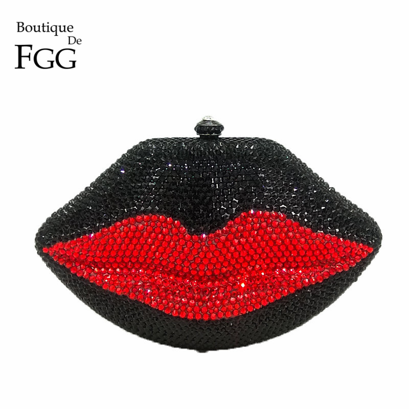 Boutique De FGG Noir et Rouge Cristal Lèvres Soir Bourse D'embrayage Femmes De Noce Cocktail Métal Mini Minaudière Sac À Main Sac