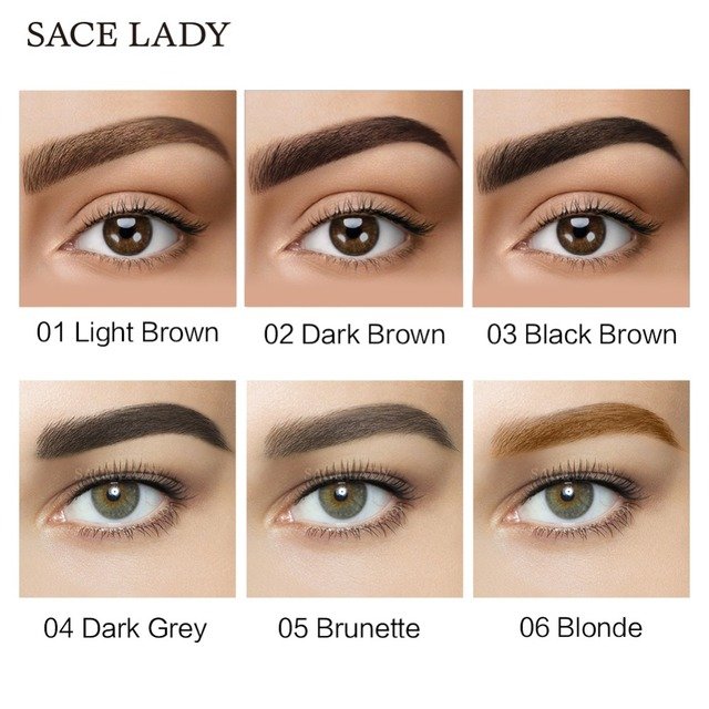 SACE LADY 6 Colors Henna Eyebrow Gel Waterproof Tint Makeup Brush Set Brown Enhancer Eye Brow Dye Cream Make Up Paint Cosmetic 3