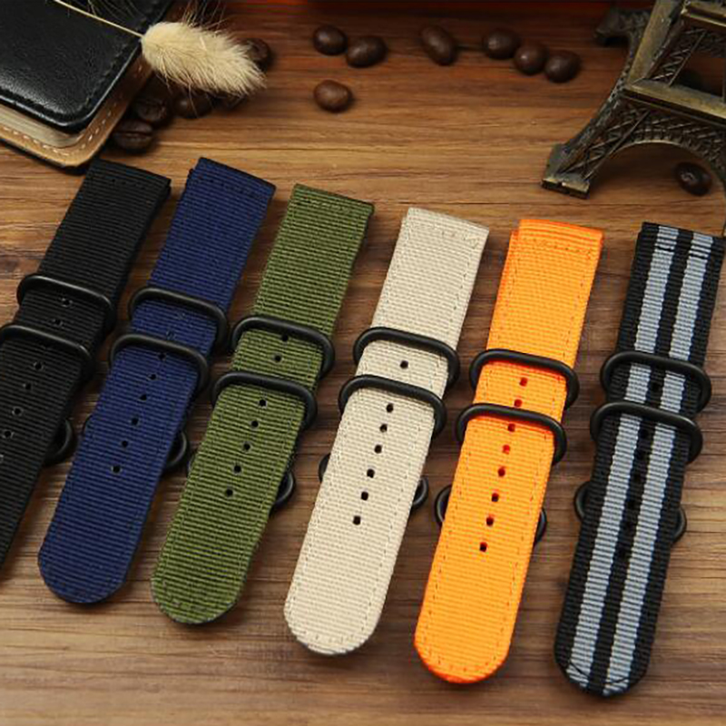 TEAROKE 6 Colors NATO Watchband Nylon Strap Black Ring Buckle 18mm 20mm 22mm 24mm Striped Replacement Band Watch Accessories цена
