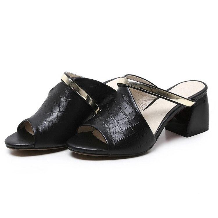 MLJUESE 2018 dames pantoffels echt leer Zwarte kleur zomer buitenkant - Damesschoenen - Foto 3