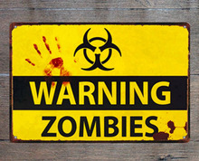 1 piece No trespassing warning zombies chemical Tin Plate Sign wall Room man cave Decoration Art Dropshipping Poster metal