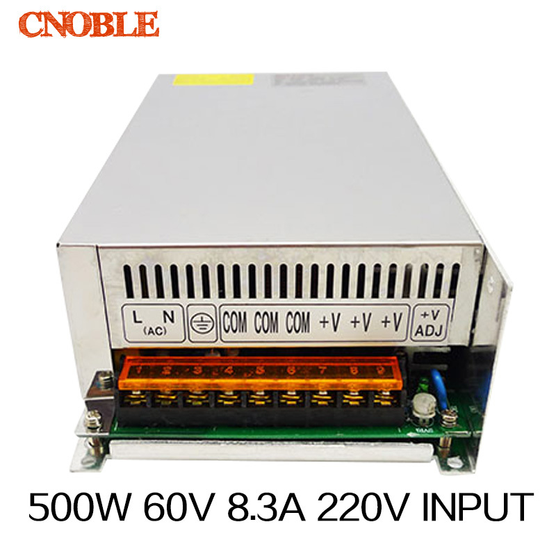 High power switching power supply 500W 60V 8.3A switching power supply AC to DC for LED strip ligth Free shipping(S-500-60) meanwell 12v 350w ul certificated nes series switching power supply 85 264v ac to 12v dc