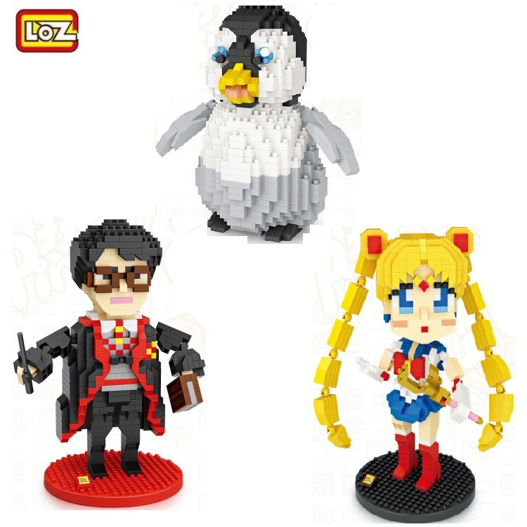 LOZ Mini Blocks Cartoon Building Bricks for Kids Toy Movie harry Small Anime Sailor Moon Model Children Educational Gifts 9792 loz diamond blocks plastic building blocks kids children gift educational toy cartoon model educational diy building figure 9505