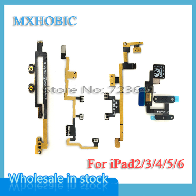 mxhobic 10pcs/lot power on/off switch button volume control flex cable for  ipad 2 3 4 5 air 6 air2 replacement parts