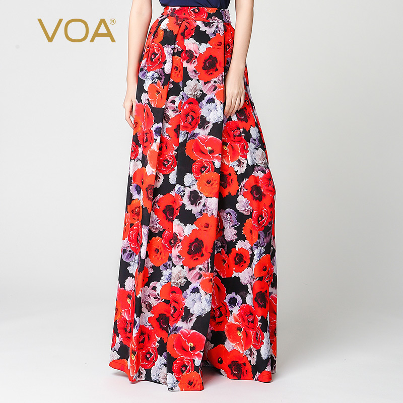 eefbac0413fd VOA Summer Red Silk Floral Printing Wid Leg Pants Women Spring Loose High  Waist Trousers Casual 5XL Plus Size Pants K3318