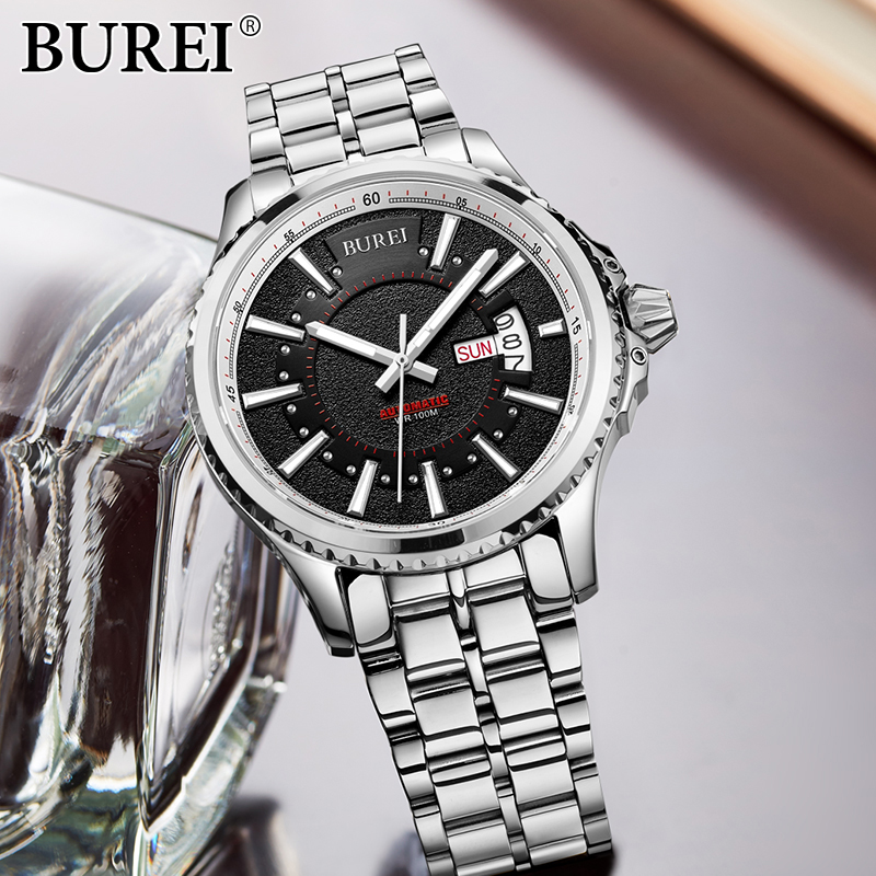 BUREI New Business Man Quartz Watch Luminous Fashion Stainless Steel Antomatic Mechanical Wristwatch male Casual clock hours 2017 new full steel automatic watch binger casual fashion wristwatch with gold calendar man business hours clock relogio reloj