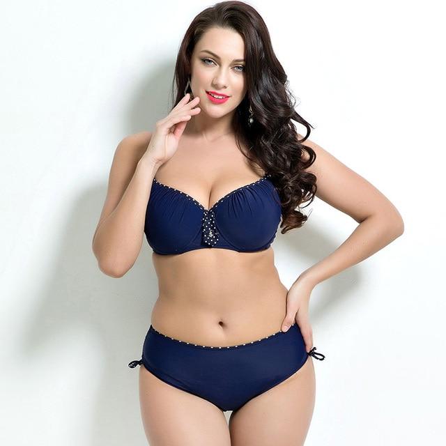 2018 Women Swimwear Sexy Plus Size Swimsuit Fat Wear Plus Size Bikini Set Bathing Suit Push Up Biquini Women Large Cup Bikini 1