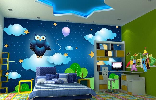 Custom papel de parede infantil night sky cartoon murals - Dibujos pared habitacion infantil ...