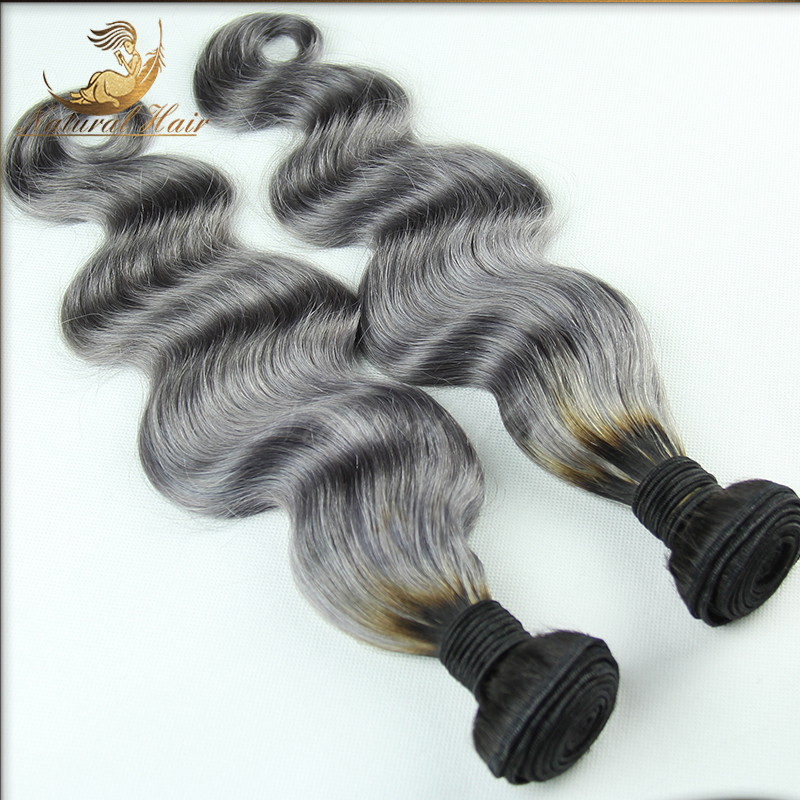 #1B/Gray 100% Virgin Human Hair Wavy 7A Brazilian Virgin Hair Body Wave Silver Grey Hair Weave 2Pcs/Lot Ombre Hair Extensions