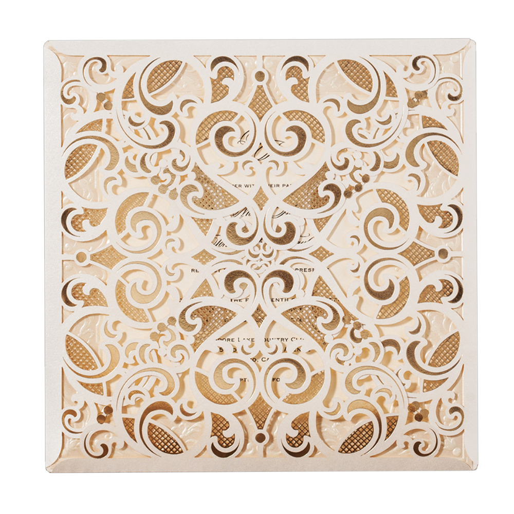 WISHMADE 1pcs Wedding Invitations Laser Cut Invites Sample Cards Square Lace Design Engagement Marriage Anniversary Cardstock