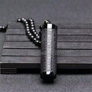 Schöne Natural Black Obsidian Geschnitzt Buddhismus Worte Streifen Herz Sutra Glück Anhänger + Kostenloser Perlen Halskette Mode Schmuck