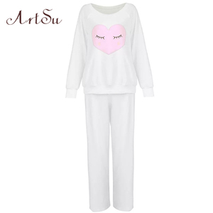 Image 5 - ArtSu Winter New Thickened Cute Sleeping Owl Coral Fleece Pajamas Home Furnishing Suit Coral Velvet Home Wear Leisure Wear 9123