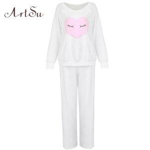Image 5 - ArtSu новая зимняя утепленная Пижама с милой совой коралловой флисовой подкладкой, домашний костюм, коралловый бархат Главная Одежда для отдыха 9123
