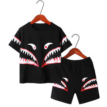 Shark Pattern Big Boys Clothing Sets 2019 Summer Cotton Sports Suit For Two-piece Children Casual Fashion Girls Clothes