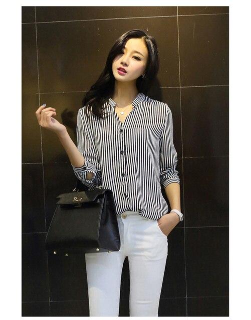 New autumn blouse shirts women clothing stripe shirt chiffon ...