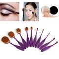Moda pro fundación polvo colorete labial cepillo sistema de cepillo del maquillaje kit cepillo de dientes forma oval púrpura 10 unids pinceaux maquillage