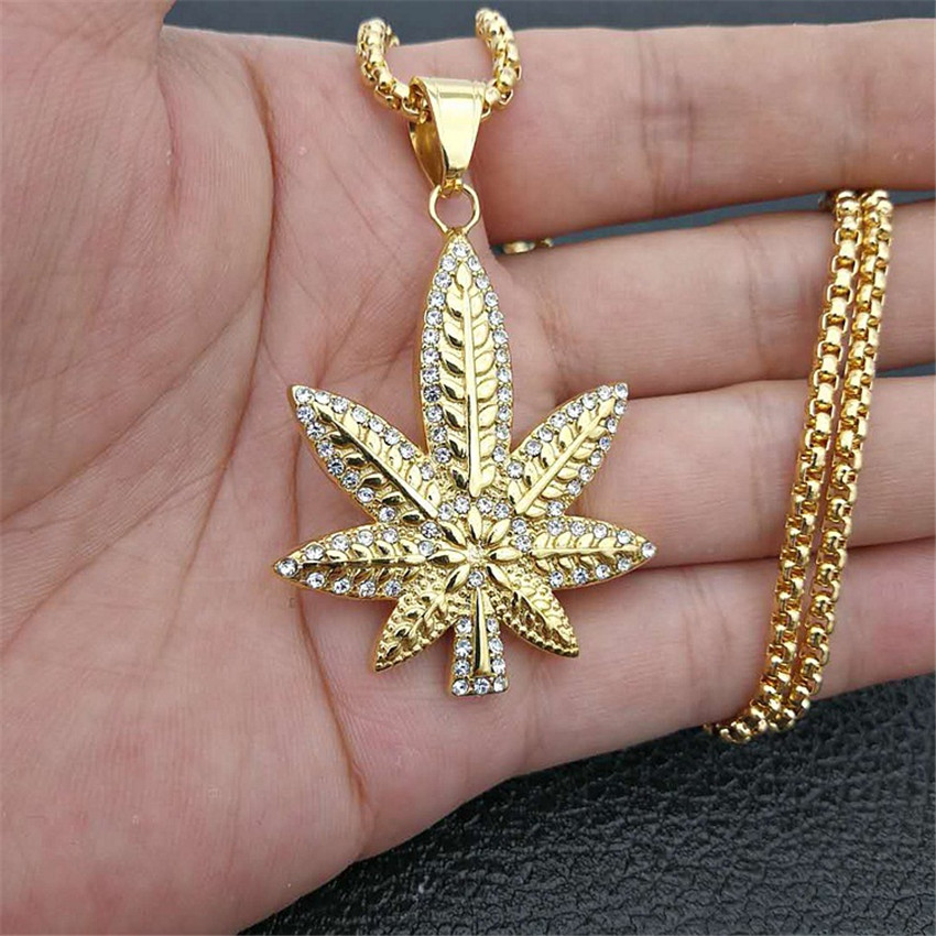 Hip Hop Iced Out Rhinestone Hemp Leaf Pendants Necklaces Gold Color Stainless Steel Necklace For Women/Men Golden Bling Jewelry