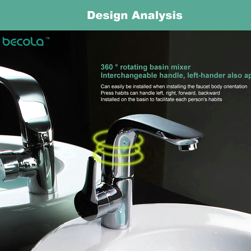 BECOLA modern washbasin design Bathroom faucet mixer waterfall Hot and Cold Water taps for basin of bathroom F-6136 bathroom golden dual handle taps washbasin sink faucets hot and cold water mixer faucet