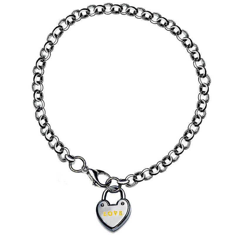 חקוק לב קסם צמידי גילוף זעיר שרשרת קישור צמיד Femme עבור נשים כלה חתונה Tiffan תכשיטי נקבה