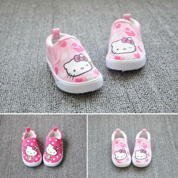 Kitty cat kids shoes niños canvas shoes zapatillas de deporte del cabrito niñas hello kitty princesa infantil muchacha del niño del cartón sneakers